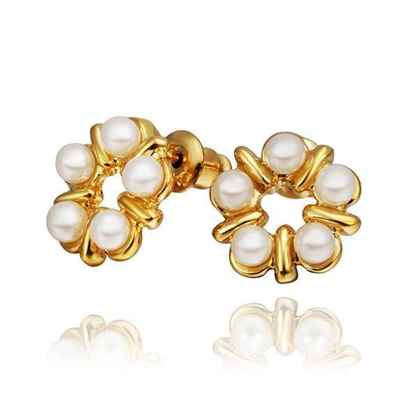 Vienna Jewelry 18K Gold Five Pearls Stud Earrings Made with Swarovksi Elements
