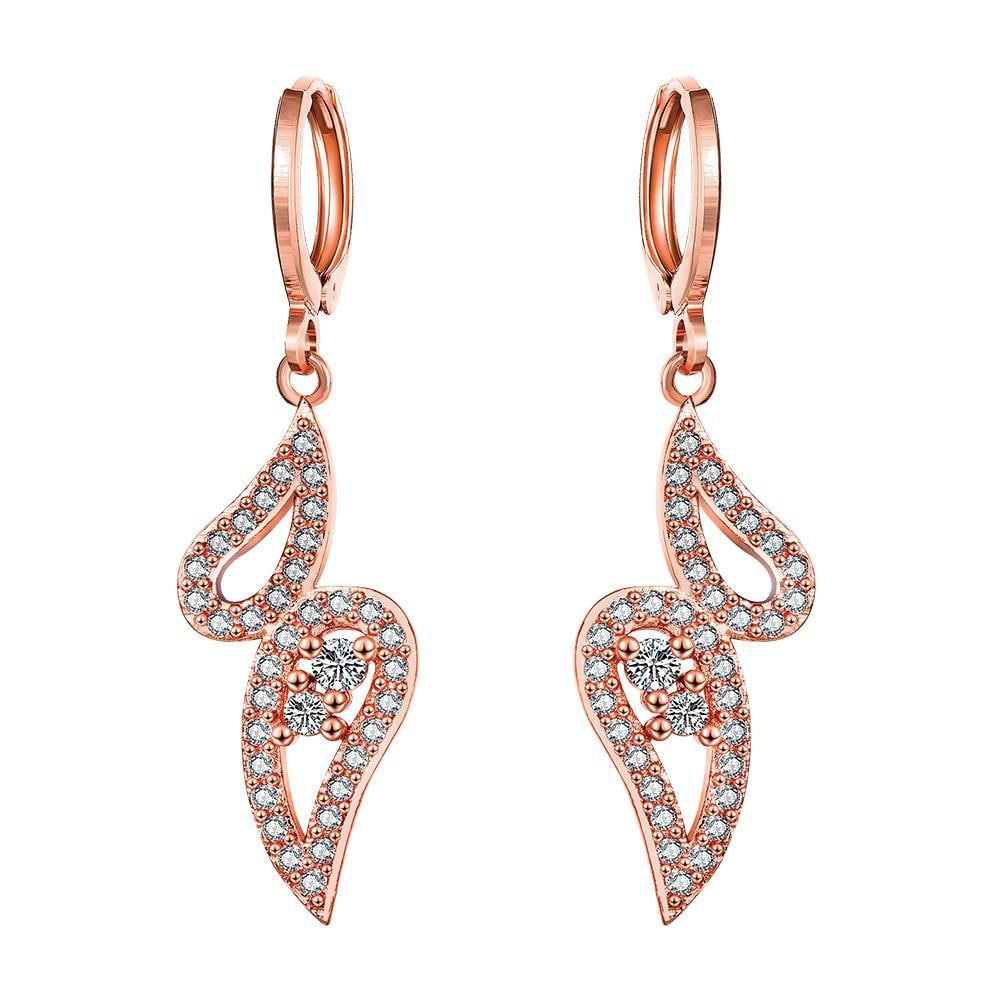 Vienna Jewelry Rose Gold Plated Butterfly Drop Down Earrings