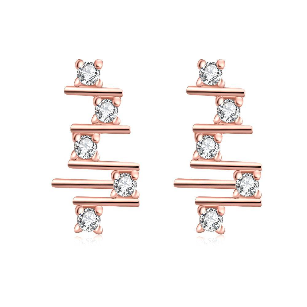 Vienna Jewelry Rose Gold Plated Abstract Horizontal Lines Drops