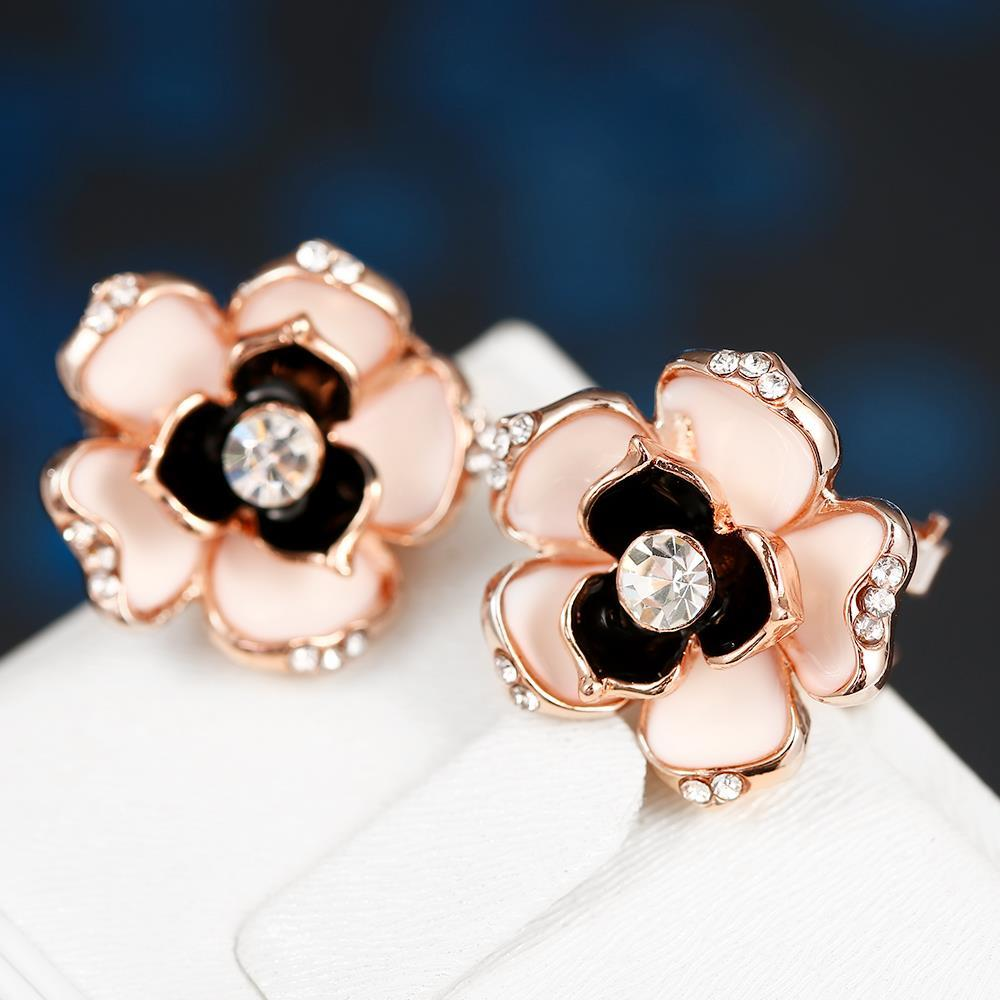Vienna Jewelry 18K Rose Gold Floral Onyx Stud Earrings Made with Swarovksi Elements