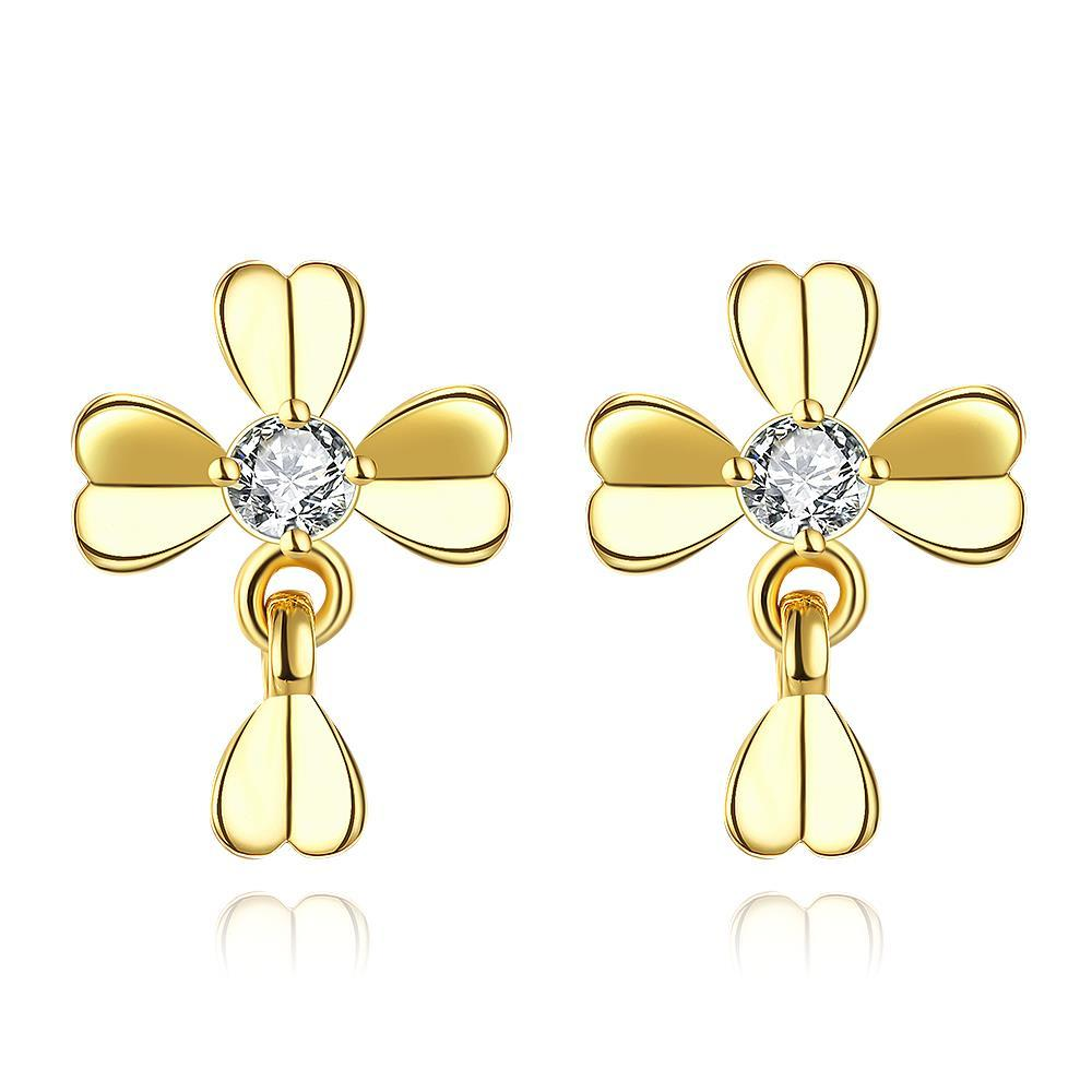 Vienna Jewelry Gold Plated Classic Modern Clover Stud Earrings