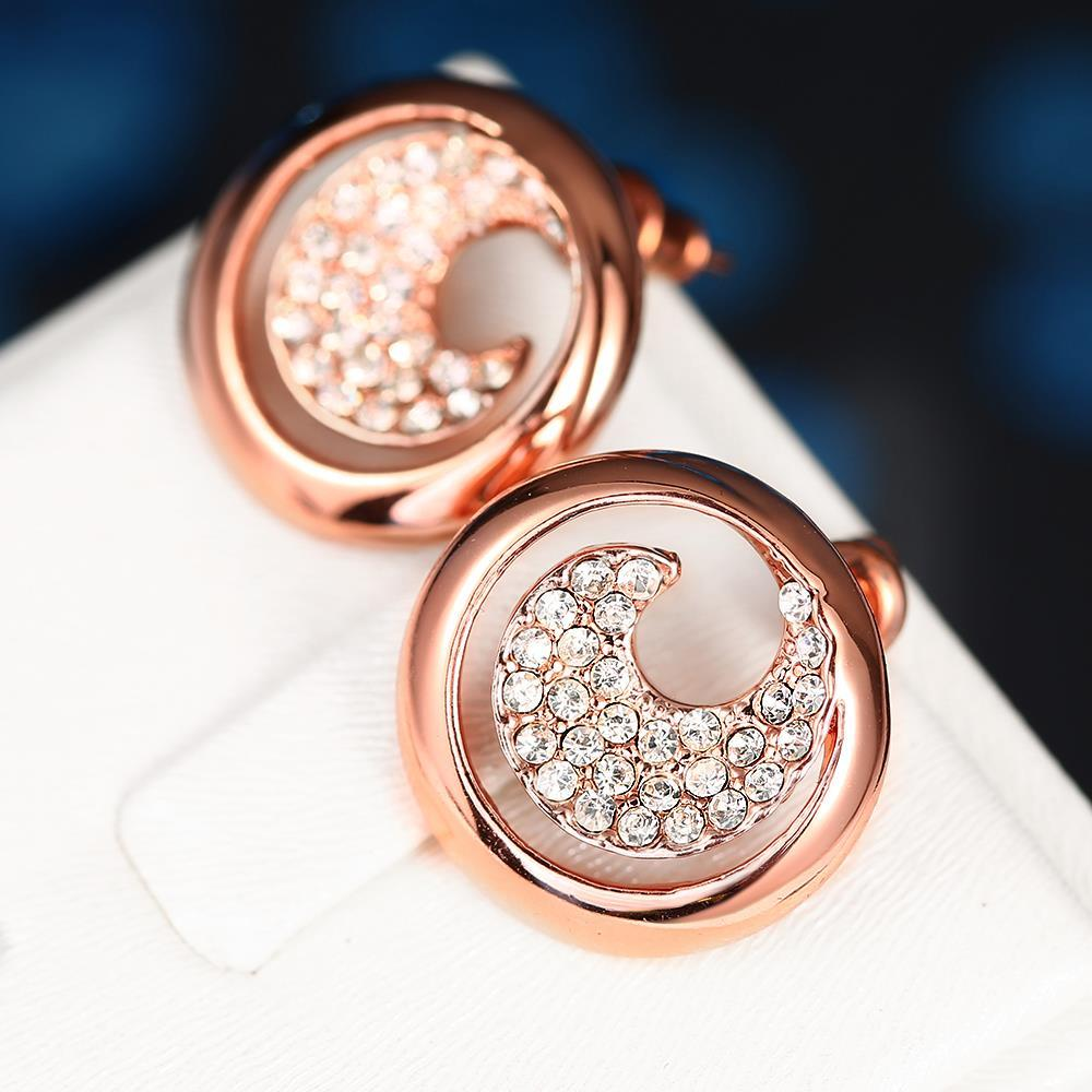 Vienna Jewelry 18K Rose Gold Swirl Stud Earrings Covered with Jewels Made with Swarovksi Elements