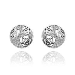 Vienna Jewelry 18K White Gold Laser Cut Stud Earrings Made with Swarovksi Elements - Thumbnail 0