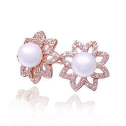 Vienna Jewelry 18K Gold Starfish Earrings with Pearl Gem Made with Swarovksi Elements - Thumbnail 0