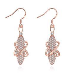 Rose Gold Plated Vertical Gemstone Drop Earrings - Thumbnail 0