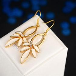 Vienna Jewelry 18K Gold Ivory Petals Drop Earrings Made with Swarovksi Elements - Thumbnail 0