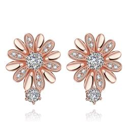 Vienna Jewelry Rose Gold Plated Floral Petal Stud Earrings - Thumbnail 0