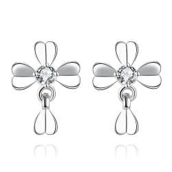 Vienna Jewelry White Gold Plated Classic Modern Clover Stud Earrings
