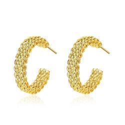 Vienna Jewelry Gold Plated Mesh Overlay Mini Hoop Earrings - Thumbnail 0