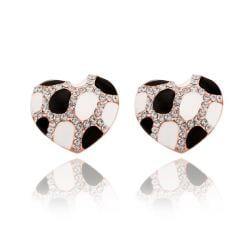 Vienna Jewelry 18K Rose Gold Heart Shaped Ivory & Onyx Gem Stud Earrings Made with Swarovksi Elements - Thumbnail 0