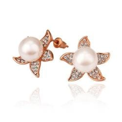 Vienna Jewelry 18K Gold Starfish Design Studs Made with Swarovksi Elements - Thumbnail 0