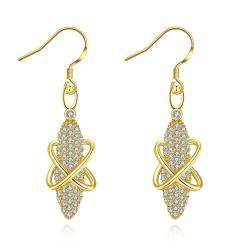 Gold Plated Vertical Gemstone Drop Earrings - Thumbnail 0