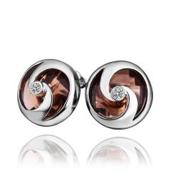 Vienna Jewelry 18K White Gold Stud Earrings with Orange Citrine Jewel Made with Swarovksi Elements - Thumbnail 0