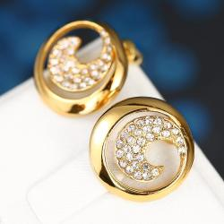 Vienna Jewelry 18K Gold Swirl Stud Earrings Covered with Jewels Made with Swarovksi Elements - Thumbnail 0