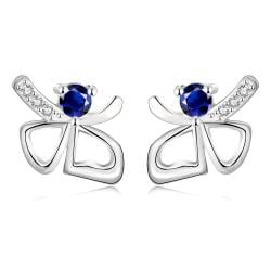 Vienna Jewelry White Gold Plated Double Hearts Saphire Gem Studs - Thumbnail 0