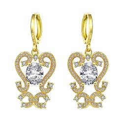 Vienna Jewelry Gold Plated Intermatrix Design Drops with Crystal Jewel - Thumbnail 0