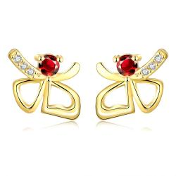 Vienna Jewelry Gold Plated Double Hearts Ruby Gem Studs - Thumbnail 0