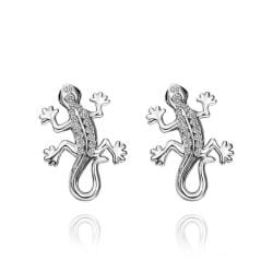 Vienna Jewelry 18K White Gold Salamander Stud Earrings Made with Swarovksi Elements - Thumbnail 0