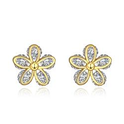 Vienna Jewelry Gold Plated Classic Double Floral Petal Studs - Thumbnail 0
