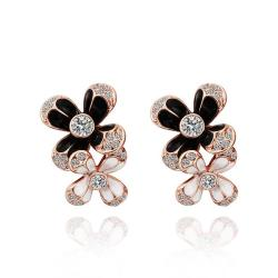 Vienna Jewelry 18K Rose Gold Floral Onyx Covering Drop Down Earrings Made with Swarovksi Elements - Thumbnail 0