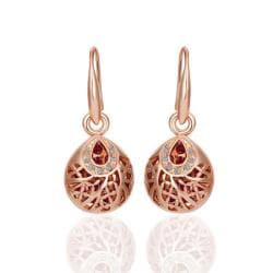 Vienna Jewelry 18K Rose Gold Drop Down Laser Cut Circle Earrings Made with Swarovksi Elements