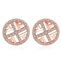 Vienna Jewelry Rose Gold Plated Classic Circular Stud Earrings - Thumbnail 0