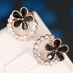 Vienna Jewelry 18K Rose Gold Floral Hoop Earrings Made with Swarovksi Elements - Thumbnail 0