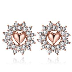 Vienna Jewelry Rose Gold Plated Floral Petal Jewels Covered Studs - Thumbnail 0