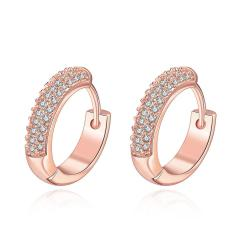 Vienna Jewelry Rose Gold Plated Jewels Covering Mini Hoop Earrings - Thumbnail 0