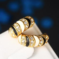 Vienna Jewelry 18K Gold Horizontal with Ivory Gems Earrings Made with Swarovksi Elements - Thumbnail 0
