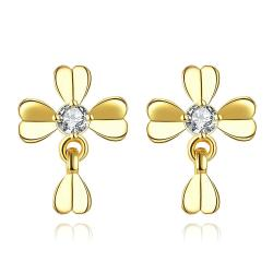Vienna Jewelry Gold Plated Classic Modern Clover Stud Earrings - Thumbnail 0