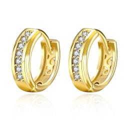 Vienna Jewelry Gold Plated Fifth Avenue Inspired Hoop Earrings - Thumbnail 0