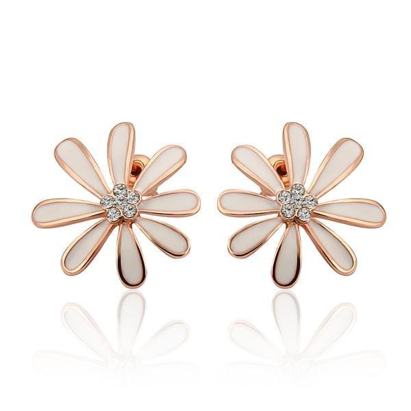 Vienna Jewelry 18K Rose Gold Floral Petal Studs with Ivory Covering Made with Swarovksi Elements