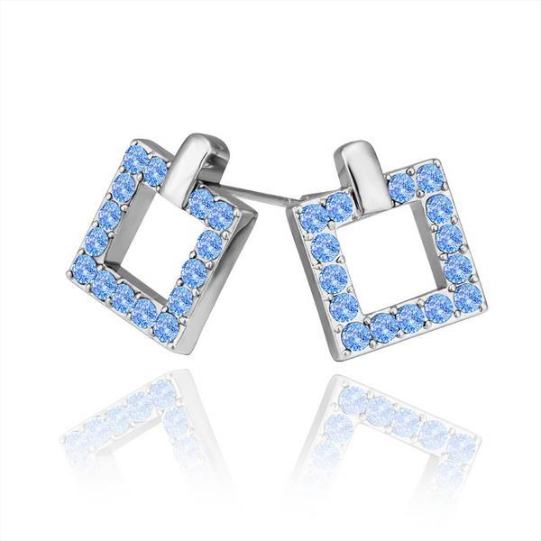 Vienna Jewelry 18K White Gold Square Stud Earrings Covered with Saphire Jewels Made with Swarovksi Elements