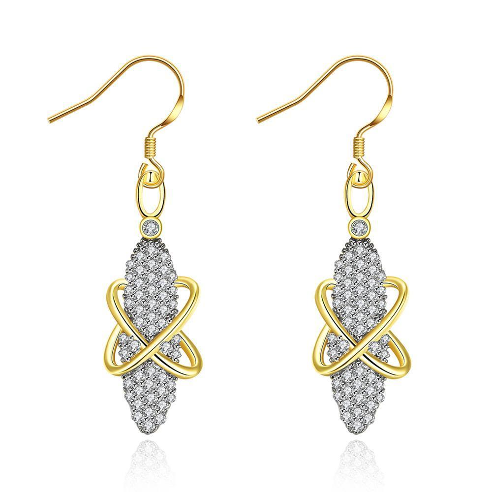 White Gold Plated Vertical Gemstone  Drop Earrings