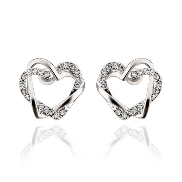 Vienna Jewelry 18K White Gold Crystal Covered Hollow Hearts Stud Earrings Made with Swarovksi Elements
