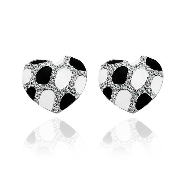 Vienna Jewelry 18K White Gold Heart Shaped Ivory & Onyx Gem Stud Earrings Made with Swarovksi Elements
