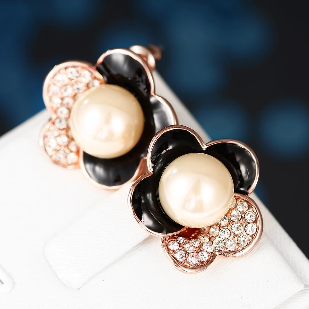Vienna Jewelry 18K Rose Gold Floral Petal Stud Earrings with Onyx Covering Made with Swarovksi Elements