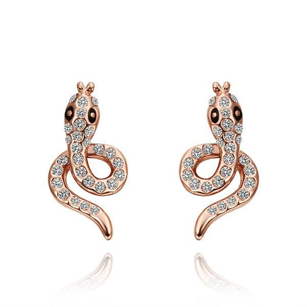 Vienna Jewelry 18K Rose Gold Spiral Cobra Shaped Stud Earrings Made with Swarovksi Elements