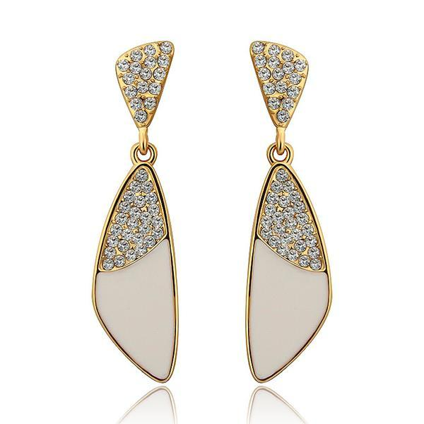 Vienna Jewelry 18K Gold Classic Ivory Drop Down Earrings Made with Swarovksi Elements