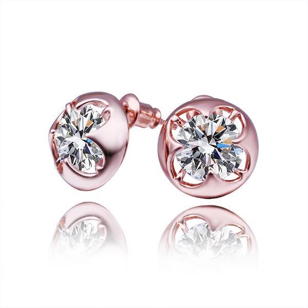 Vienna Jewelry 18K Rose Gold Stud Earrings with Jewel Made with Swarovksi Elements