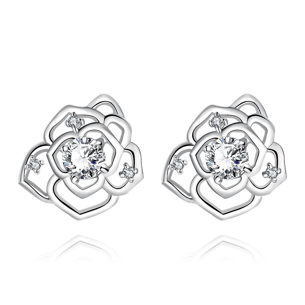 Vienna Jewelry White Gold Plated Laser Cut Floral Petals Stud Earrings