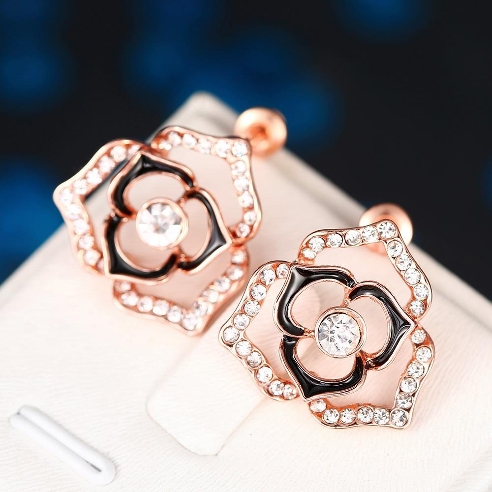 Vienna Jewelry 18K Rose Gold Hollow Floral Earrings Made with Swarovksi Elements
