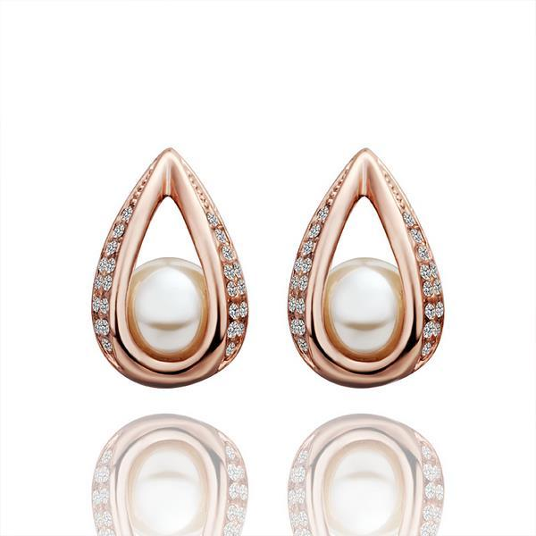 Vienna Jewelry 18K Rose Gold Hollow Acorn With Pearl Earrings Made with Swarovksi Elements