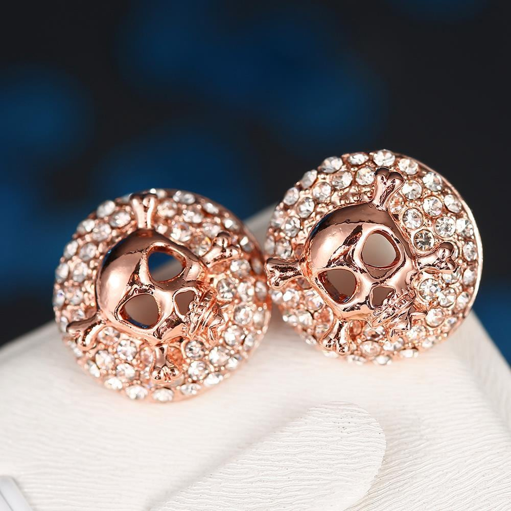 Vienna Jewelry 18K Rose Gold Skull & Bones Stud Earrings Made with Swarovksi Elements