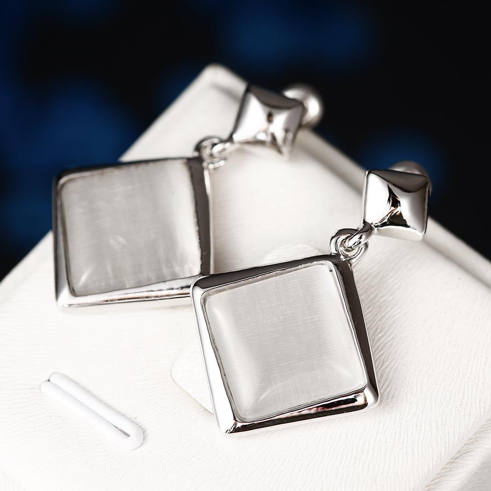 Vienna Jewelry 18K White Gold Square Shaped Drop Down Earrings Made with Swarovksi Elements