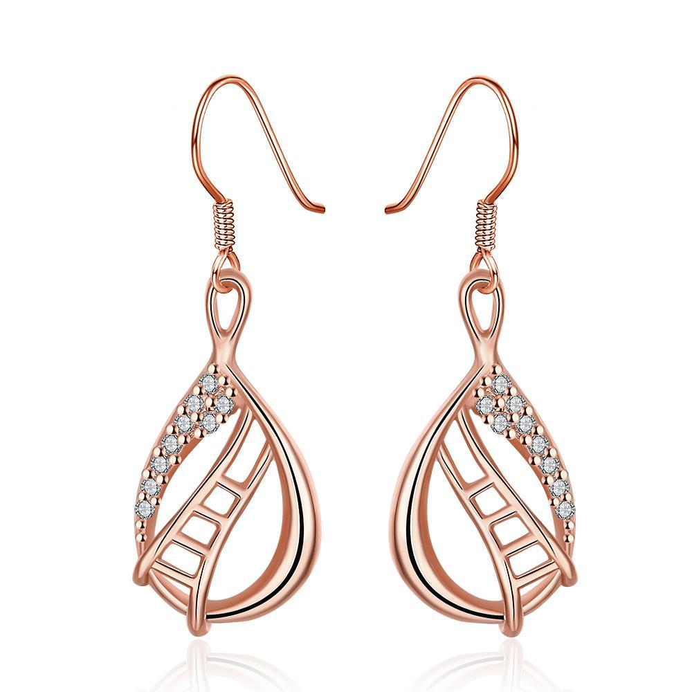 Vienna Jewelry Rose Gold Plated Stairway to Heaven Drop Down Earrings