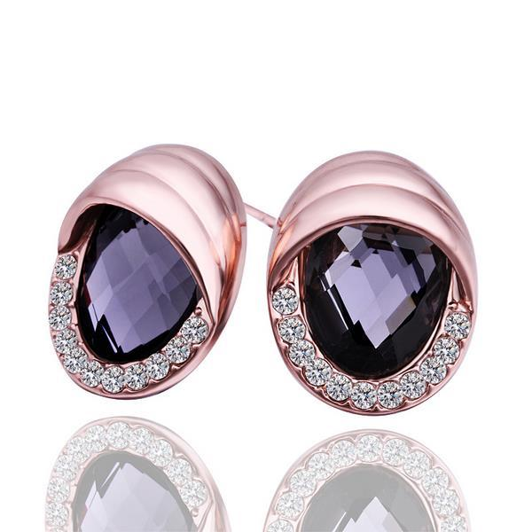 Vienna Jewelry 18K Rose Gold Stud Earrings with Onyx Jewel Made with Swarovksi Elements