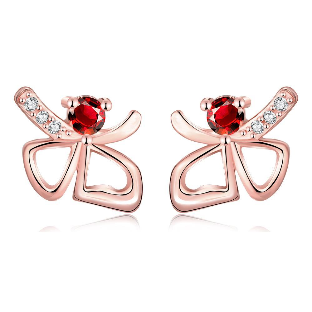 Vienna Jewelry Rose Gold Plated Double Hearts Ruby Gem Studs