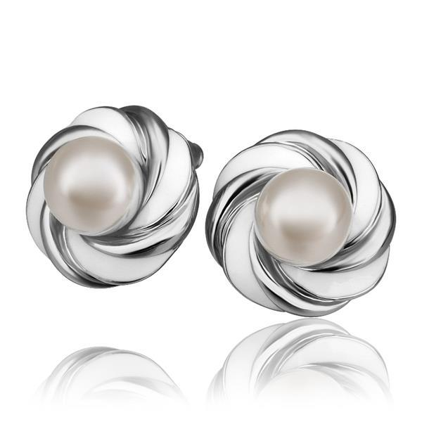 Vienna Jewelry 18K White Gold Intertwined Love Knot Stud Earrings Made with Swarovksi Elements